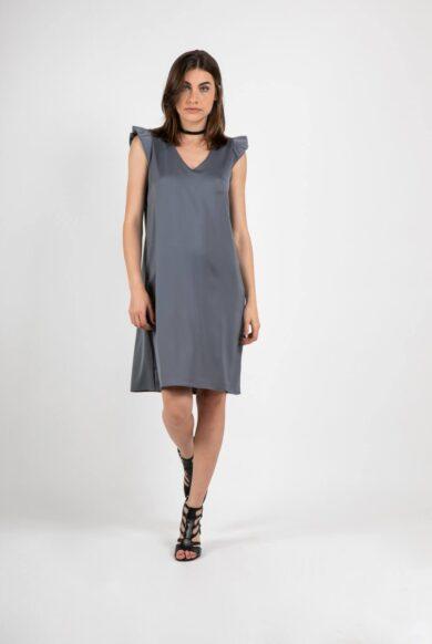 שמלה אפורה לאירוע שמלה מבד סטן