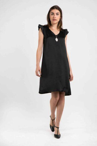 שמלת סטן דגם פטיפור-שחור