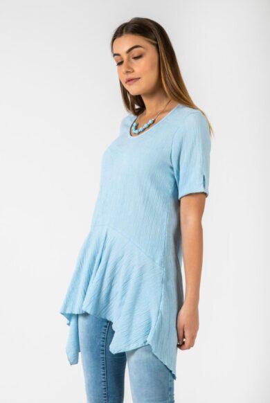 טוניקה חולצה ארוכה טוניקה בצבע תכלת