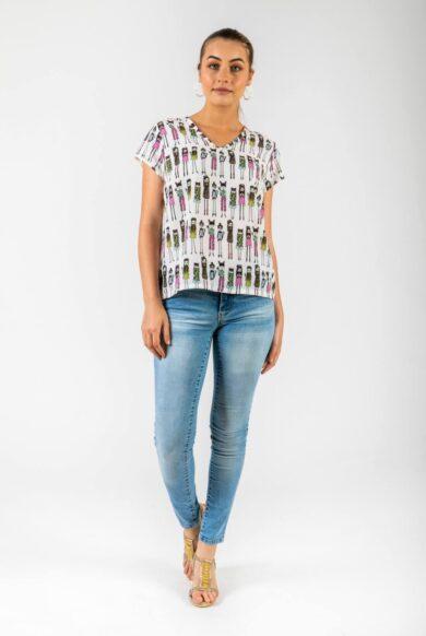 חולצה בהדפס רטרו דגם כנרת