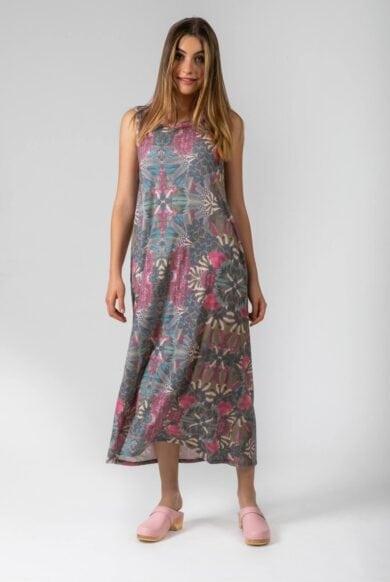 שמלה ורודה באורך מקסי דגם להרשים פודרה