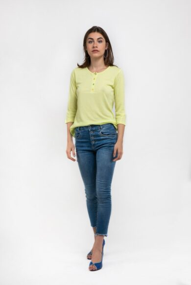חולצה קלילה עם שינה דגם פנקוטה-צהוב