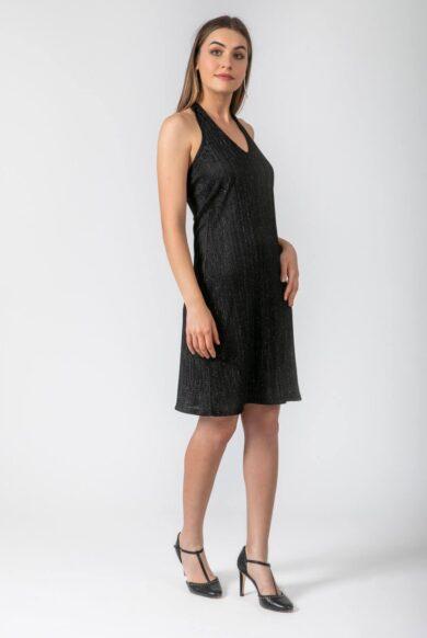 שמלת קולר צמודה דגם קאפקייקס שחור