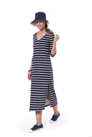 שמלת פסים מבד ג'רסי-דגם רוחנית נייבי