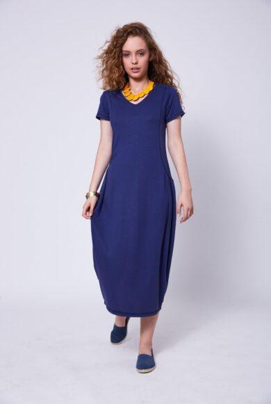 שמלה בגיזרת בלון דגם פילוסופית-ג'ינס