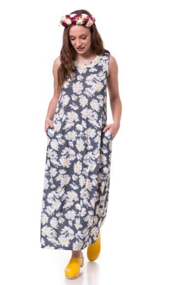 שמלת מקסי עם כיסים-להרשים חמנית