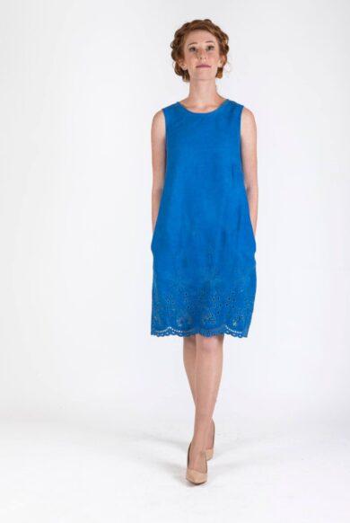 שמלת ג'ינס בגוון ווש דגם פוקט ים