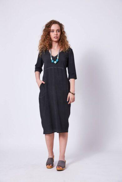 שמלה עם שרוולים בגיזרת בלון דגם בלומה פלדה