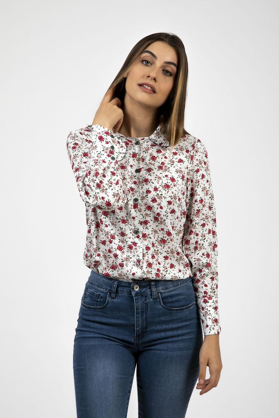 חולצת וינטג' בהדפס פרחים-דגם שושן