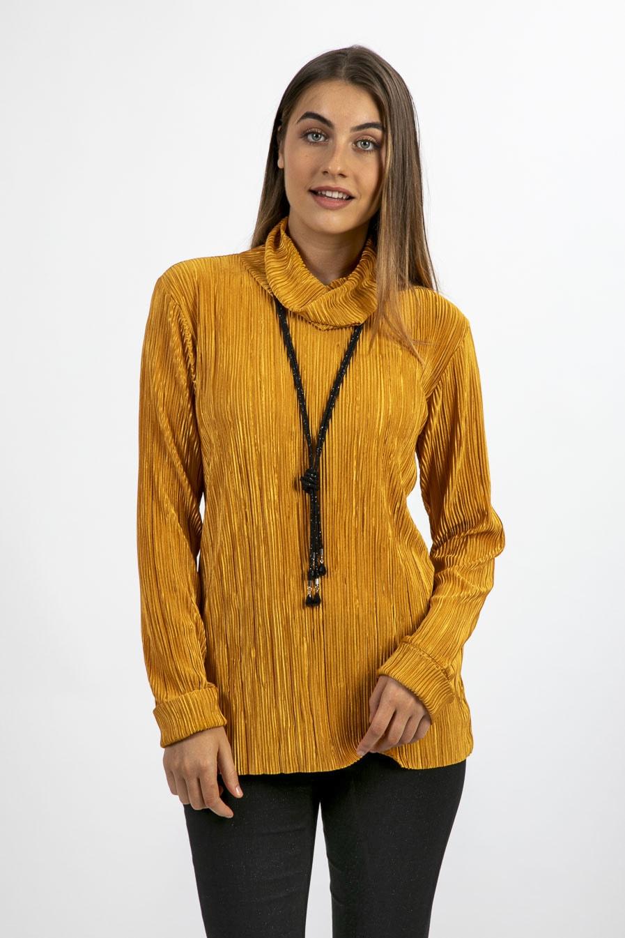 חולצה גולף בצבע חרדל -דגם אורן