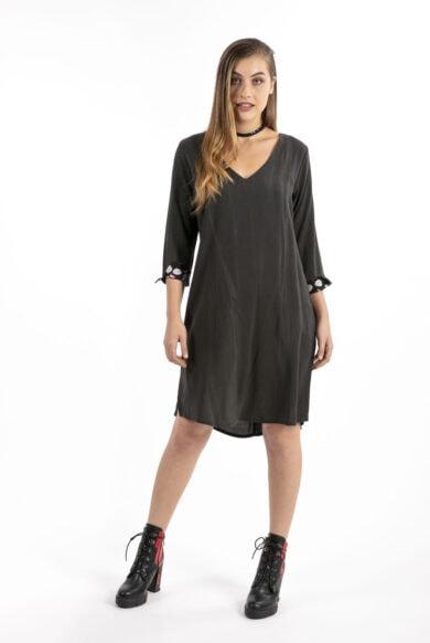 שמלת גלביה מבד כותנה שמלה עם שרוולים
