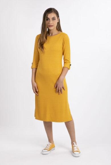 שמלת טריקו נעימה בצבע צהוב חרדל