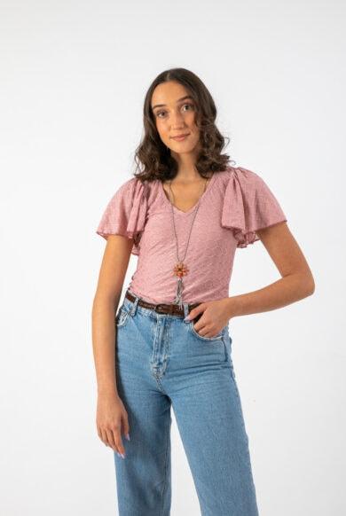 חולצת ברבורים בגוון פודרה