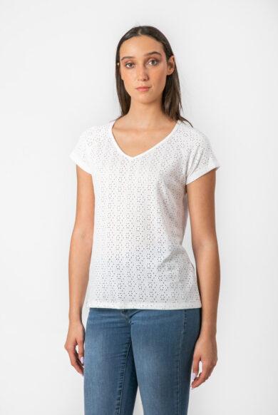 חולצה תחרה קצרה מעוצבת בצבע לבן