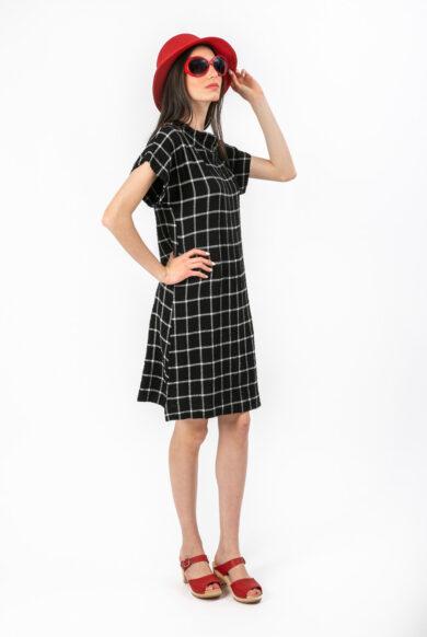 שמלה מבד כותנה עם שרוול קטן