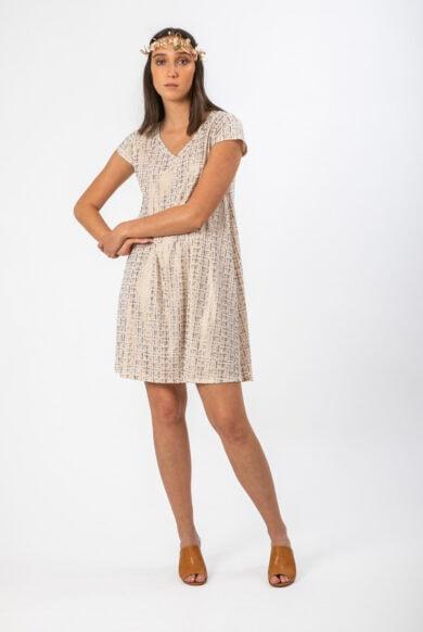 שמלה מבד דמוי עור בצבע אופויט