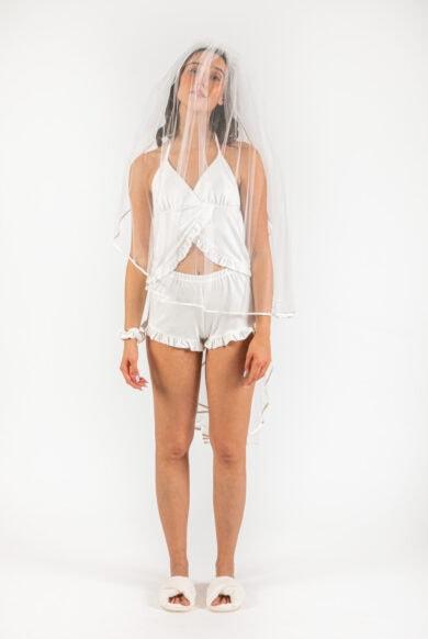 מארז פיג'מה מעוצב לכלה בצבע לבן