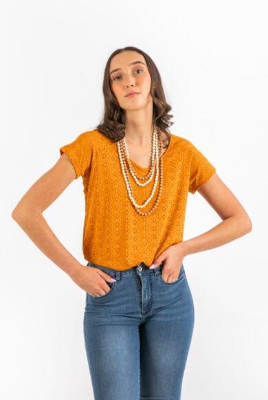 חולצה תחרה קצרה מעוצבת בצבע כתום